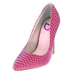 Wild Diva Shoes - Callie Pink Textured Snakeskin Pump